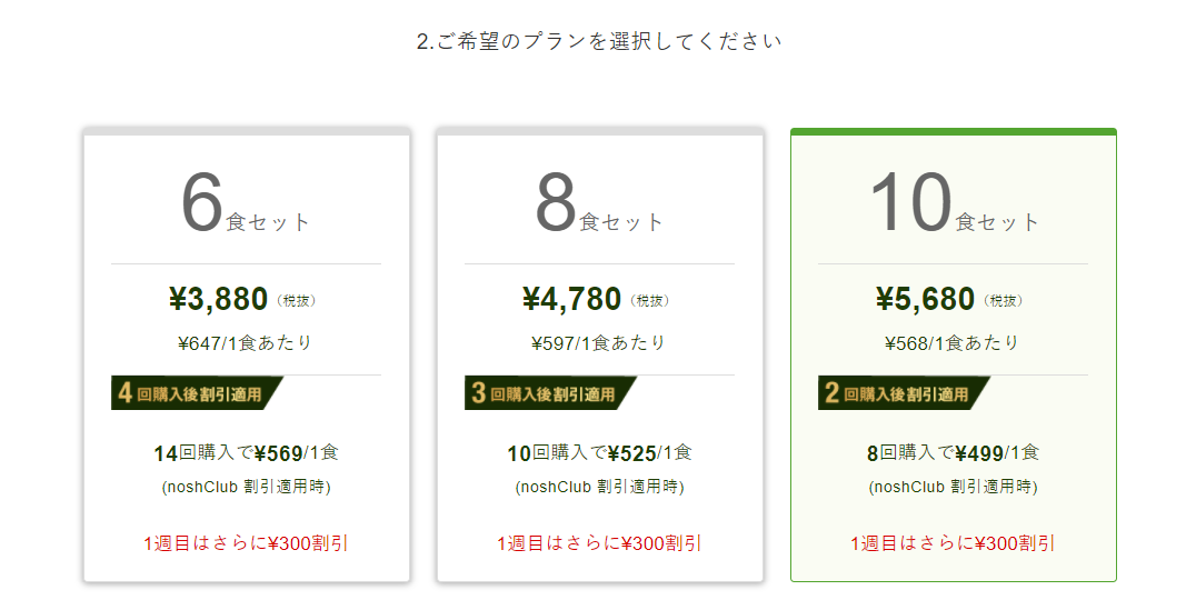 nosh(ナッシュ)の300割引キャンペーン