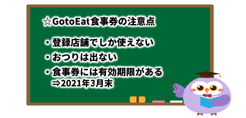GotoEat食事券の注意点