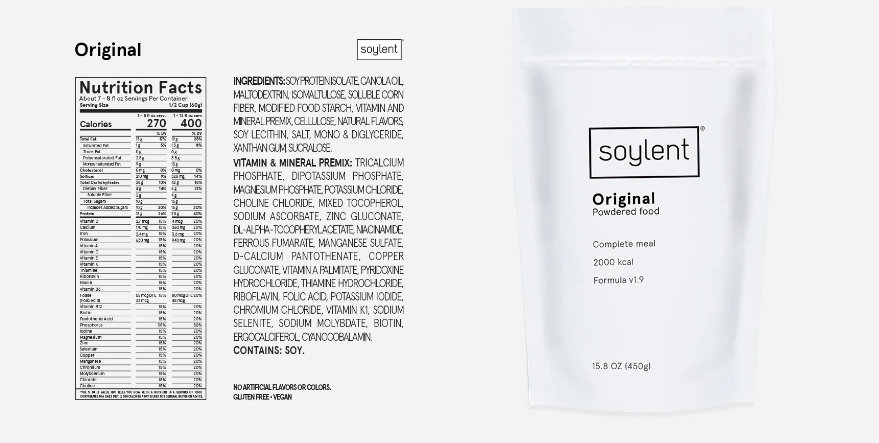 ソイレントの栄養成分表示