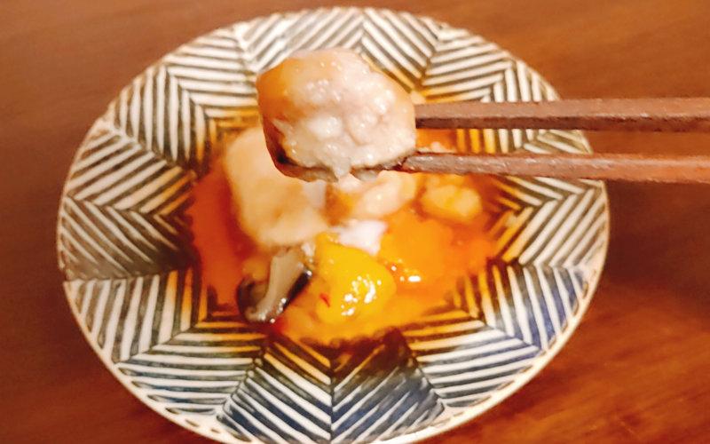 そふ菜の酢豚を実食中