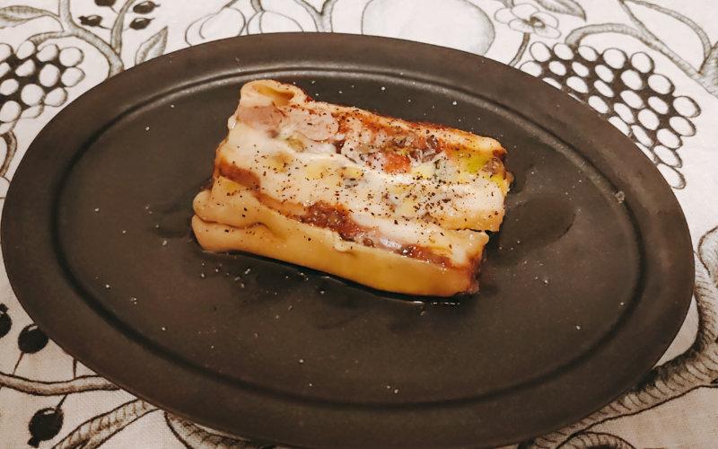 野菜とシャラン産鴨のラザニア モザイク風