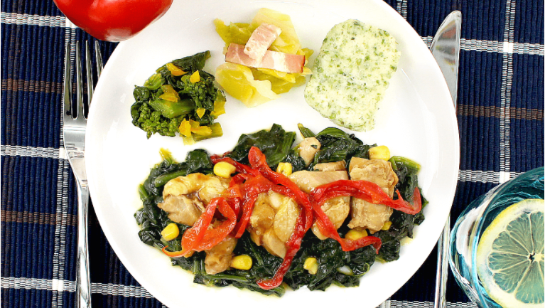チキンと彩り野菜のバター醤油ソテー